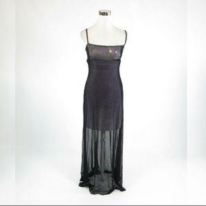 Cache black spaghetti strap maxi dress M